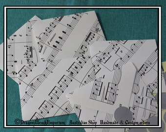 10 Handmade mini envelopes 100mm x 80mm. 4 inch x 3 inch. Gift card envelopes. Other sizes available. genuine sheet music.