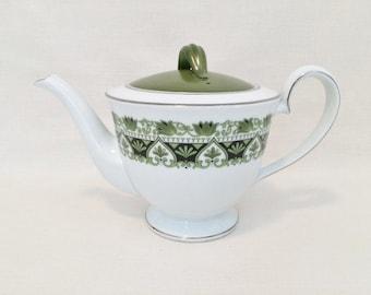 Rare NORITAKE NITTO WARE Teapot - Ellen Pattern #2002 - White Green & Black