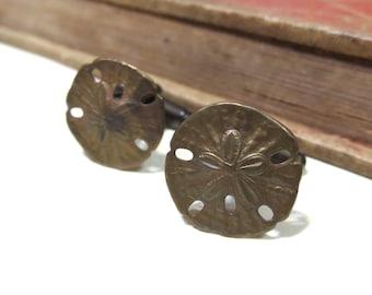 Antiqued Brass Sand Dollar Cuff Links - Soldered - Beach Sea Wedding Antique Silver Cufflinks Oxidized Antique
