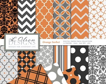 Orange, Gray, and Black Paper Pack - 12 digital paper patterns plus 3 BONUS - INSTANT DOWNLOAD