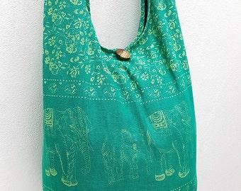 Women bag Handbags Cotton bag Elephant bag Hippie Hobo Boho bag Shoulder bag Sling bag Messenger bag Tote Crossbody Purse Mint Green