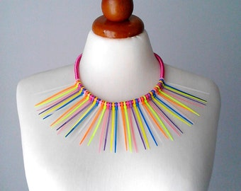 Statement necklace bib necklace bright necklace neon necklace neon jewelry colorful necklace recycled jewelry upcycled jewelry boho necklace
