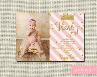 Princess Birthday Thank You, Princess Birthday, Princess Thank You, Pink and Gold, Glitter, First Birthday Invitation, Princess Party