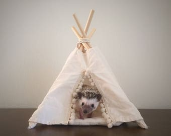 Hedgehog bed, hedgehog house, hedgehog teepee with a pad, small pet bed, small animal house, pet bed, pet teepee, rat bed