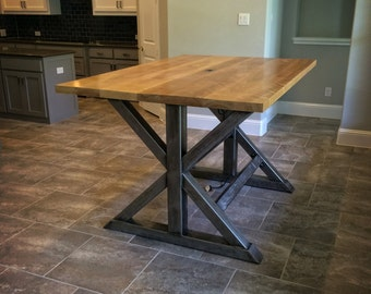 The Titan - Bar-Height Birch and Steel Trestle Table