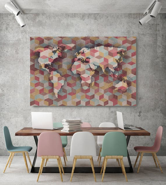 "Modern World Map VI. Gray Mauve Large Canvas Art Print. Large Wall Art, Maps Print. Abstract Map Canvas Print up to 72"" by Irena Orlov"