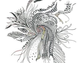 "Digital Print of My Original Ink Drawing, 11"" x 14"". Titled ""Evolution""."