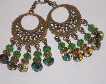 Gold and Green Speckled Glass Antiqued Gold Chandelier Earrings