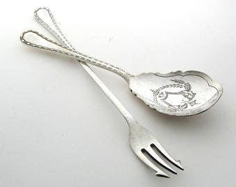 Matching Jam Spoon and Pickle Fork, Victorian Silver Plate, English Vintage Cutlery