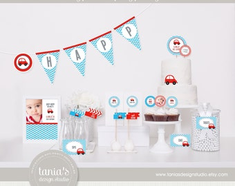 Little Red Car Printable Birthday Party Package by tania's design studio