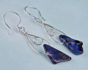 Dangle Earrings, Aqua Terra Jasper, Magenta, Purple, Silver Wire, Natural Organic, Purple Earrings, One of a Kind, Minimalist, Wire Wrapped