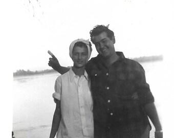 "Vintage Snapshot ""Ouch!"" Smiling Man Holds Up Bandaged Finger Original Black & White Found Photo Vernacular Photography"