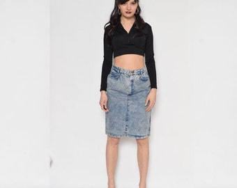 Vintage 80's Acid Wash Denim Skirt / High Waisted Denim Midi Skirt / Acid Wash denim Pencil Skirt