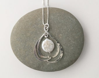 Baroque Pearl Pendant, Embraced Pearl, Silver Pearl Pendant, Coin Pearl Pendant, Asymmetrical Pendant