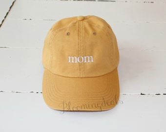 Mustard Yellow Hat Custom Embroidery, mom hat,  Low Profile Distressed Pigment Dyed Unconstructed Hat