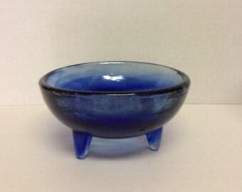 Bowl Cobalt Blue Three Legs