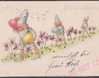 Antique original Victorian 1901 German litho Postcard Gnome Elf Dwarf Egg Easter post card Glitters