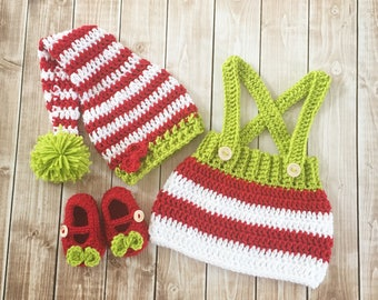Little Miss Elf Costume/Elf Stocking Cap/ Elf Costume/Christmas Costume/ Elf Photo Prop 0-3 Month Size- READY TO SHIP