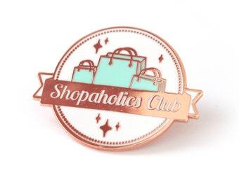Einkaufen Addict-Club-Emaille-Pin / kaufsüchtigen club Stift / rosé vergoldet pin / club Anstecknadel / shopping Liebhaber Stift / funny pin / club Stifte