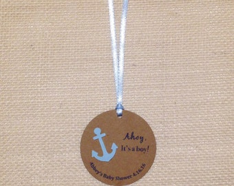 Nautical Baby Boy Shower Thank You Gift Tags   Custom Anchor Baby Shower Favor Tags   Ahoy It's a Boy! Personalized Party Tags   Set of 10