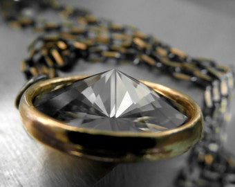 Black Crystal in Gold Bezel, Black Gunmetal and Gold Box Chain, Swarovski Rivoli Crystal Pendant, Grey Gray, Modern Jewelry, Minimal Jewelry