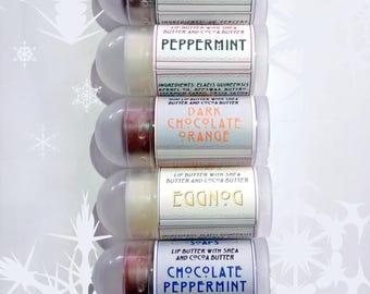 Winter Mini Lip Balm Gift Set - 7 Mini Lip Balms with Shea Butter and Cocoa Butter
