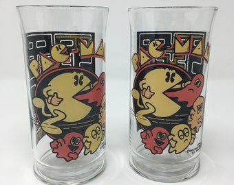 Pac-Man 1980s Set Of Two Glasses Cups