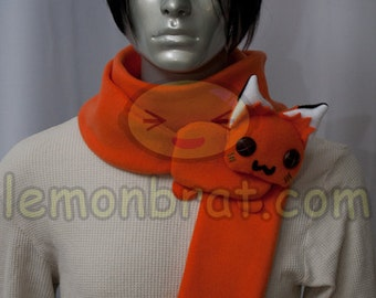 Fox Kitsune Scarf, Cute Animal, fleece, long, warm, Handmade