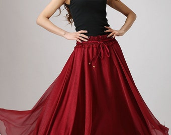 Maxi skirt Chiffon, elastic waist skirt, chiffon skirt, red skirt ,long skirt beach, ruffle skirt, Burgundy skirt, Custom skirt (862)