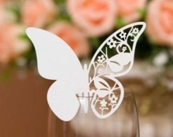 50x White Butterfly Name Place Card | Wine Glass Flute Wedding & Party Reception Ceremony Banquet Function Table Centerpiece Decoration