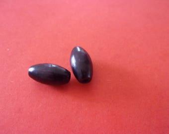 Set of 2 olive black plastic beads - 11mm