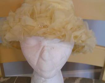 Vintage yellow ladies flower hat womans headwear