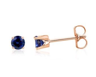 14K Sapphire Stud Earrings, 14K Rose Gold Blue Diamond-Cut Sapphire Stud Gemstone Earrings - 3mm Round Top Blue Color - September Birthstone