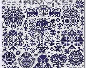 LONG DOG SAMPLERS Opus 2 counted cross stitch patterns at thecottageneedle.com monochromatic Celtic Scandinavian