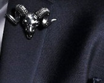 Silver Colored Ram Skull Lapel Pin Brooch -Everyday / Weddings / Proms