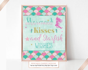 Pink Mermaid Birthday Party sign Candy Table Art Starfish Wishes Decor Printable 8x10 Instant Download