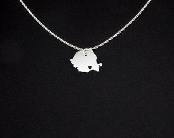 Romania Necklace - Country Necklace - Romania Gift - Romania Jewelry