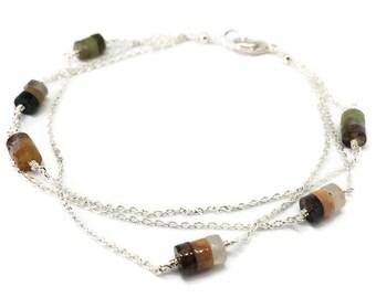Fancy jasper multi-strand superfine gemstone bracelet