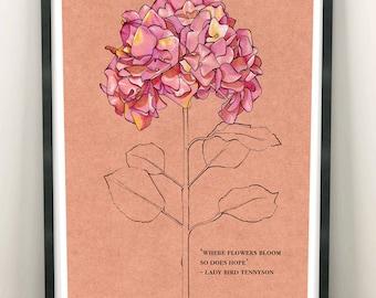Mental Health Bloom Floral A4 Print   British Wildlife Illustration   Charity Donation Art Print