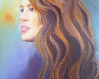 Girl portrait, original painting, oil on canvas paper, 9,5 x 12,5 inc., bedroom decor, lounge, gift idea for her or for him, home wall art.