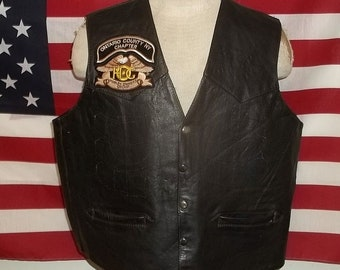 Harley Davidson HD biker leather vest with 2 Buffalo nickel head extenders Protech product large size moderately worn neat presentable