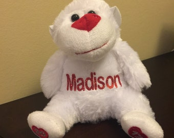 Personalized Plush Valentines Day Monkey