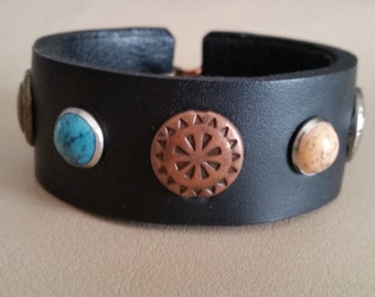 "Narrow Black WOMEN'S 6"" LEATHER BRACELET with Tri-Metal Conchos, Turquoise and Coral Studs, Hook & Eye Closure, Lined, Thin Small Wristband"