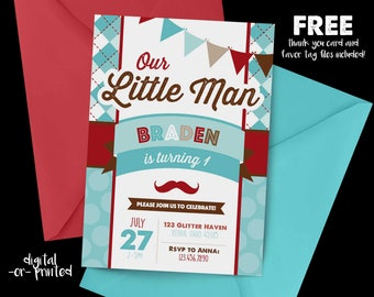 Little Man Birthday Invitation, First Birthday Invitation, Mustache Birthday, 1st Birthday Invitation, Little Man birthday, first birthday