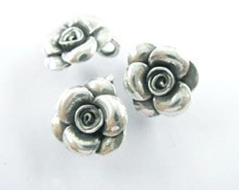 2 of Karen Hill Tribe Silver Rose Charms 12.8 mm. :ka1064
