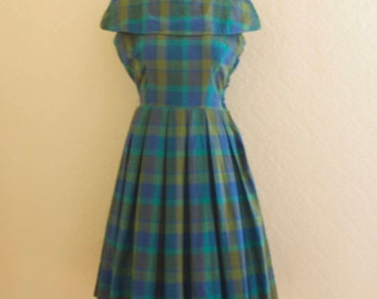 1950's blue's and green's plaid dress