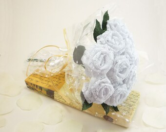 1 Dozen Gift Wrapped Origami White Lace Fabric Rose Bouquet for Anniversay Gift, Valentines day gift, Party favors