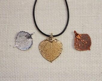 SALE Leaf Necklace, Aspen Leaf, Silver Silver Leaf, Copper Leaf, Real Leaf Necklace, Gold Aspen Leaf Pendant, SALE140