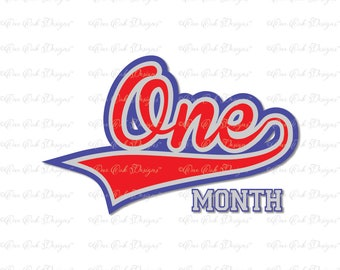Baseball Baby Birthday Month 1 SVG DXF PNG File for Cameo Cricut & other electronic cutters