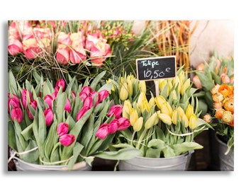 Paris Photograph on Canvas - Market Tulips, Gallery Wrapped Canvas, Colorful French Kitchen Decor, Architecture Photograph, Large Wall Art